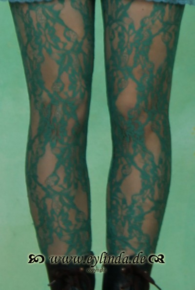 Leggins, flamenco legs, dark green lace