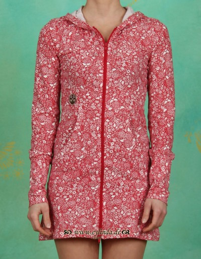 Zipper, summernight longzip, red flora