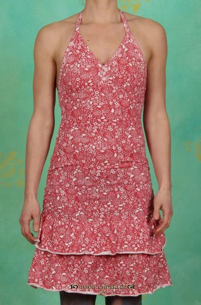 Kleid, nackenkuss rüschendress, red flora