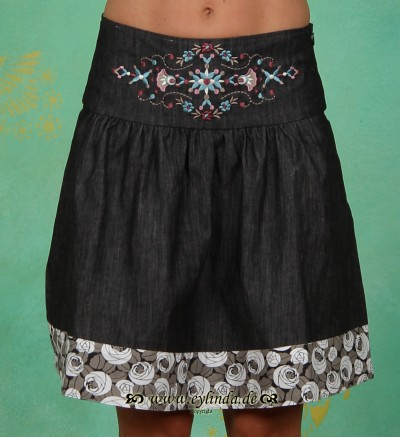 Rock, Polkanight Skirt, black denim