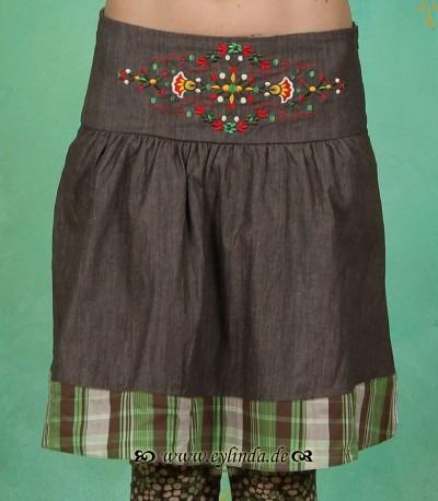 Rock, Polkanight Skirt, brown denim