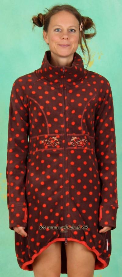 Longzipper, Long Cosy Coat, entertaining-dots-fleece