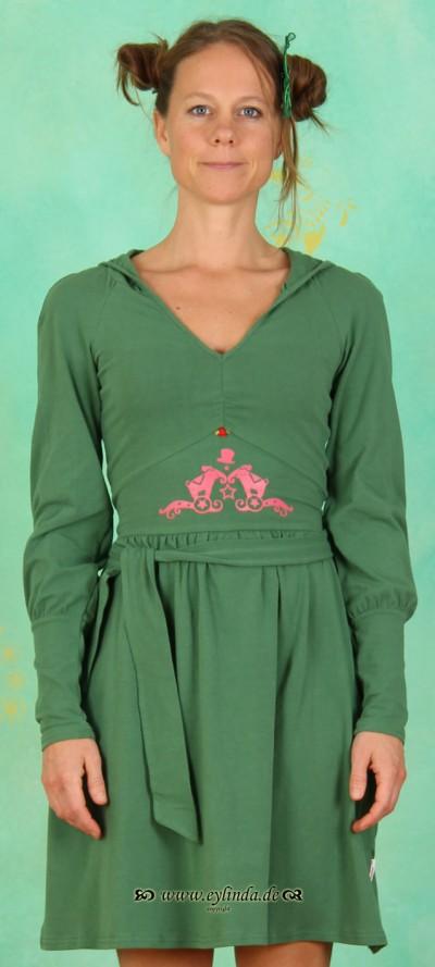 Kleid, Hooded Elegance, moss-green