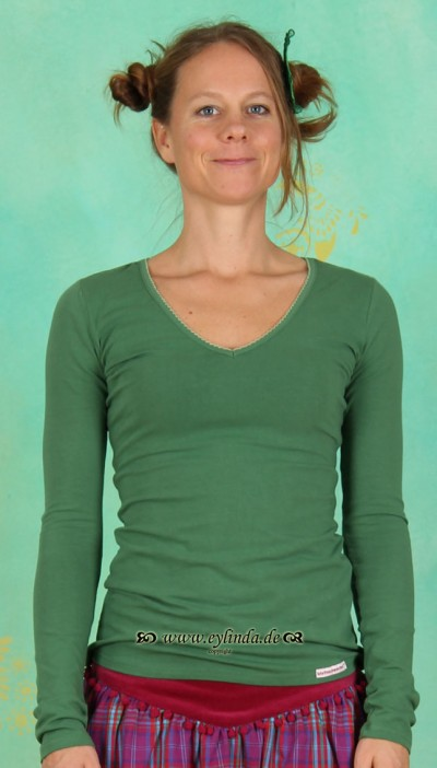Longsleeve, Wow V-Shirt, moss-green