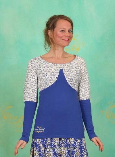 Shirt, Biedermeier Shirt, major-blue