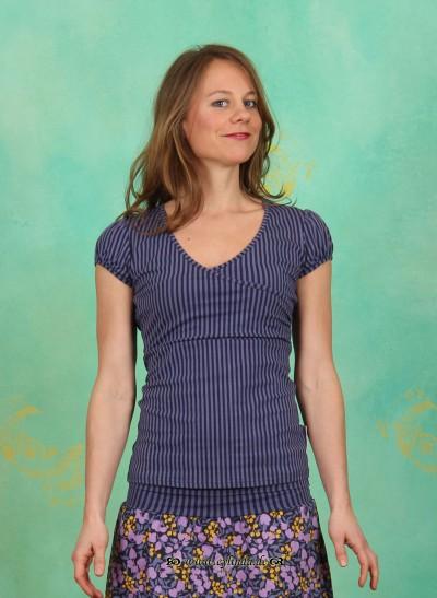 Shirt, Drapé V-Tee, evening-stripes
