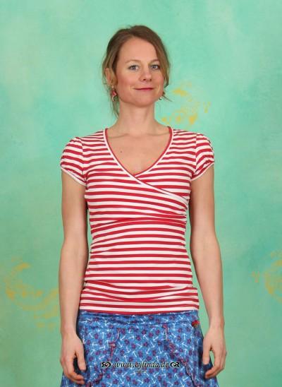 Shirt, Drapé V-Tee, sailor-stripes