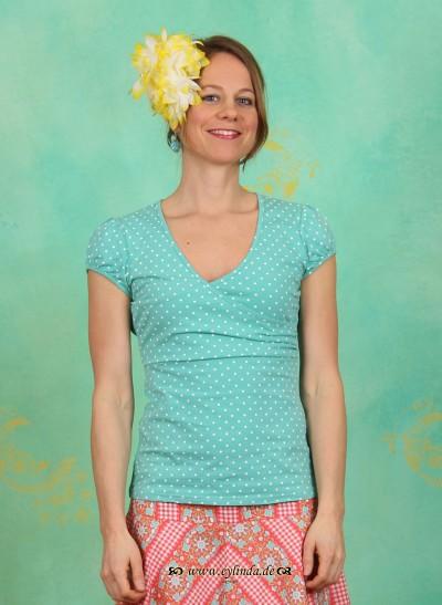 Shirt, Drapé V-Tee, seaside-dots