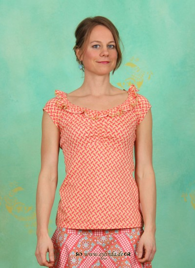 Shirt, Neck Allure Shirt, coral-plaiting
