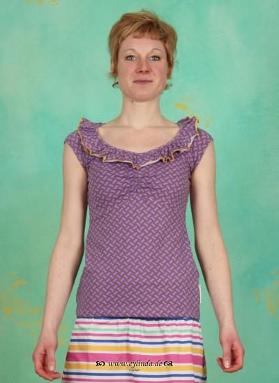 Shirt, Neck Allure Shirt, noble-plaiting