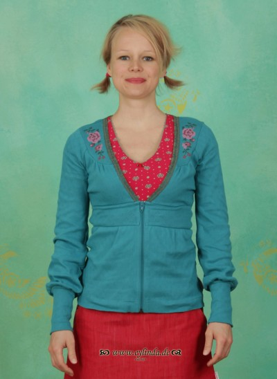 Zipper, Haselbrunn' Sweetzip, folkloristic-turquoise