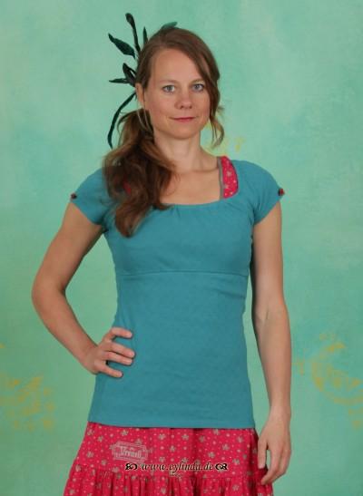 T-Shirt, Bratwurst Carmen Tee, folkloristic-turquoise