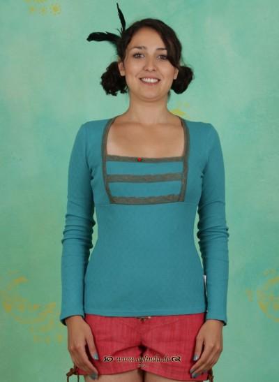 Shirt, Kirschwasser Carré, folkloristic-turquoise