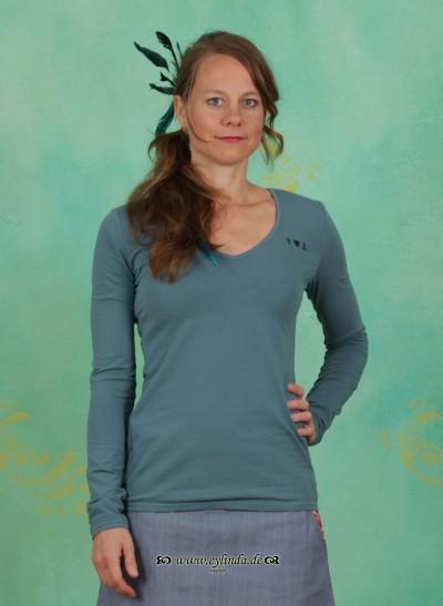 Shirt, Logo Longsleeve V-Shirt, dark-turquoise