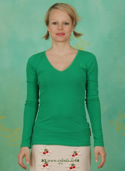 Shirt, Logo Longsleeve V-Shirt, woodruff-green