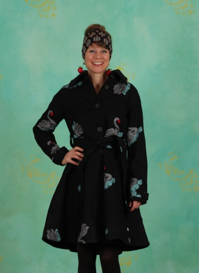 Mantel, Swinging Swanlake Coat, night-swan