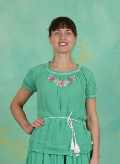 Bluse, Bees And Birds Blouse, smaragd-crepe