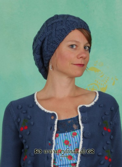 Mütze, Cable Cappie, majolika-blue
