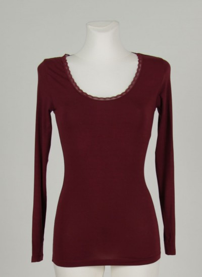 Shirt, L'ess Lace, burgundy