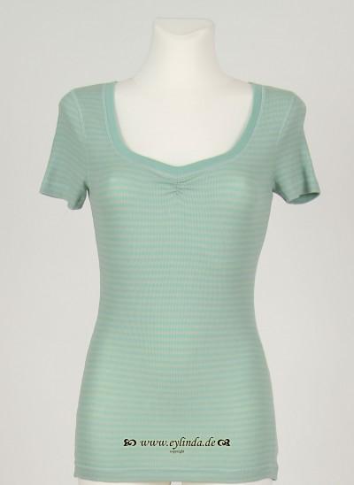 T-Shirt, Basic 2x2 Rib Light Striped, dark-surf