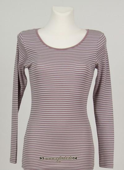T-Shirt, Basic Single Rib Striped, elderberry