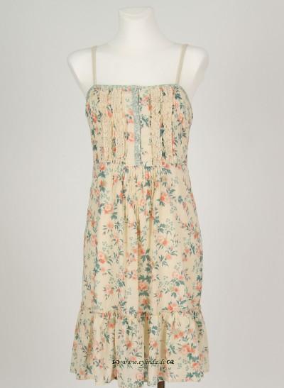 Kleid, Basic Voile Printed, coral