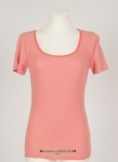 T-Shirt, Basic 2x2 Rib Striped , dark-coral