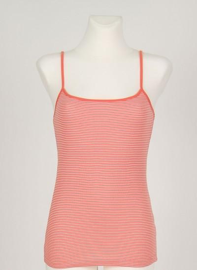Top, Basic 2x2 Rib Striped , dark-coral