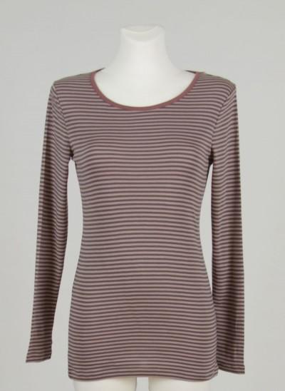 T-Shirt, Less Single Rib Striped, fawn