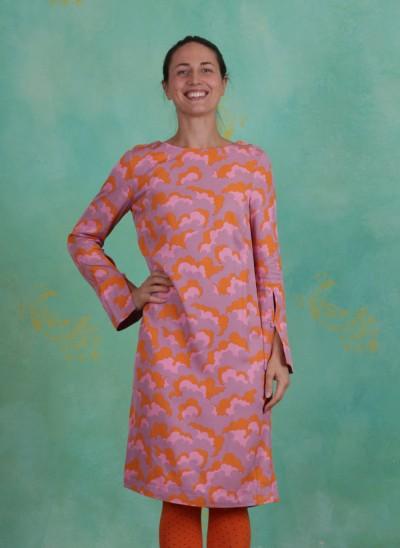 Kleid, Fluid Twill, print-pink