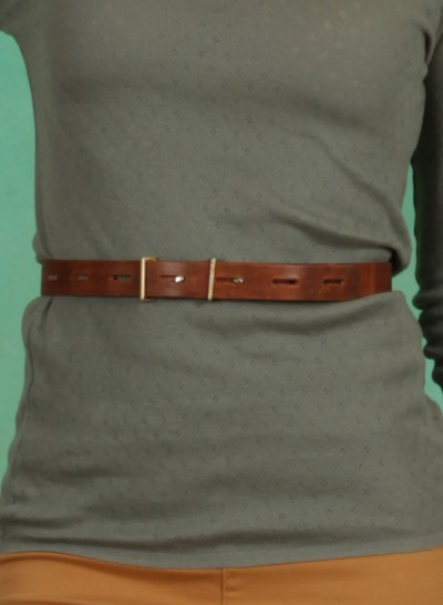 Gürtel, Line Leather Belt, roasted-pecan