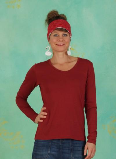 Shirt, Long Sleeve T-shirt, merlot-red