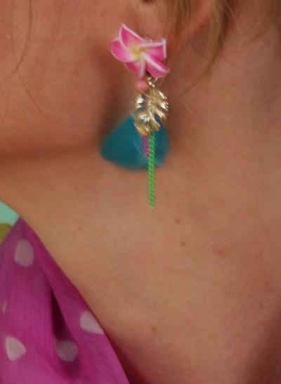 Ohrringe, Bo Fleur Plume, bleu