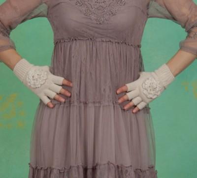 Handschuhe, Elva Half, milky-sand