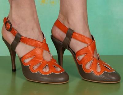 Schuhe, Blythe, mousse-khaki-orange