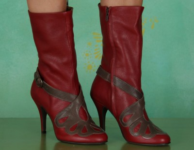 Schuhe, Bay, mousse-red-grey