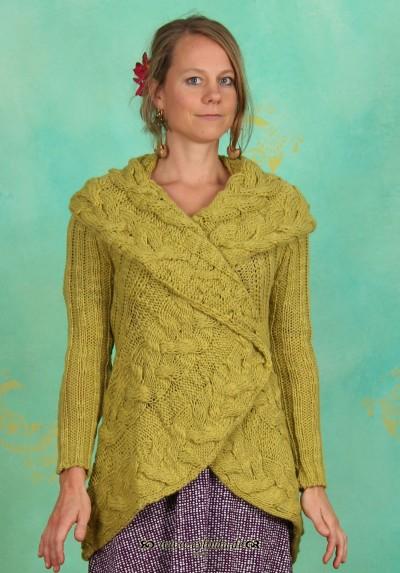 Cardigan, Aga Knit, chartreuse