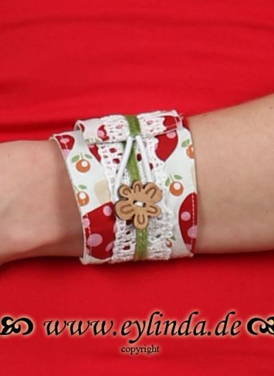 Armband, HeidiAr, weiß-rot