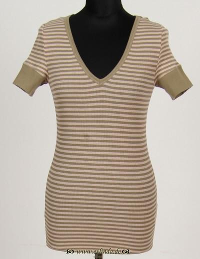T-Shirt, Basic-2X2 Rib Light-Striped-02, cotta