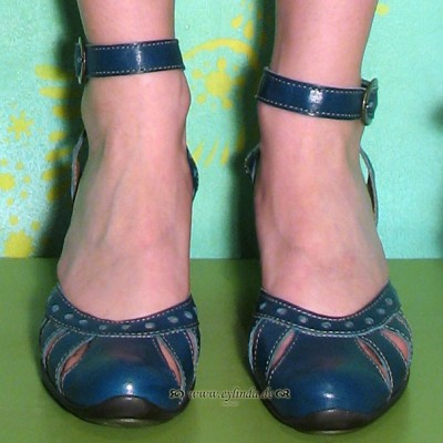 Schuhe, Strol, mousse/blue