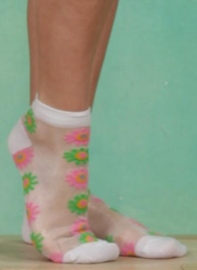 Socken, Pink `n` Green Asters, white-multi