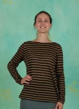 T-Shirt, Striped Linen Jersey, art-black