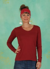 Shirt, Long Sleeve T-shirt, merlot-red