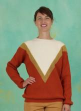 Pullover, Lurex Chevron Sweater, off-white/rust