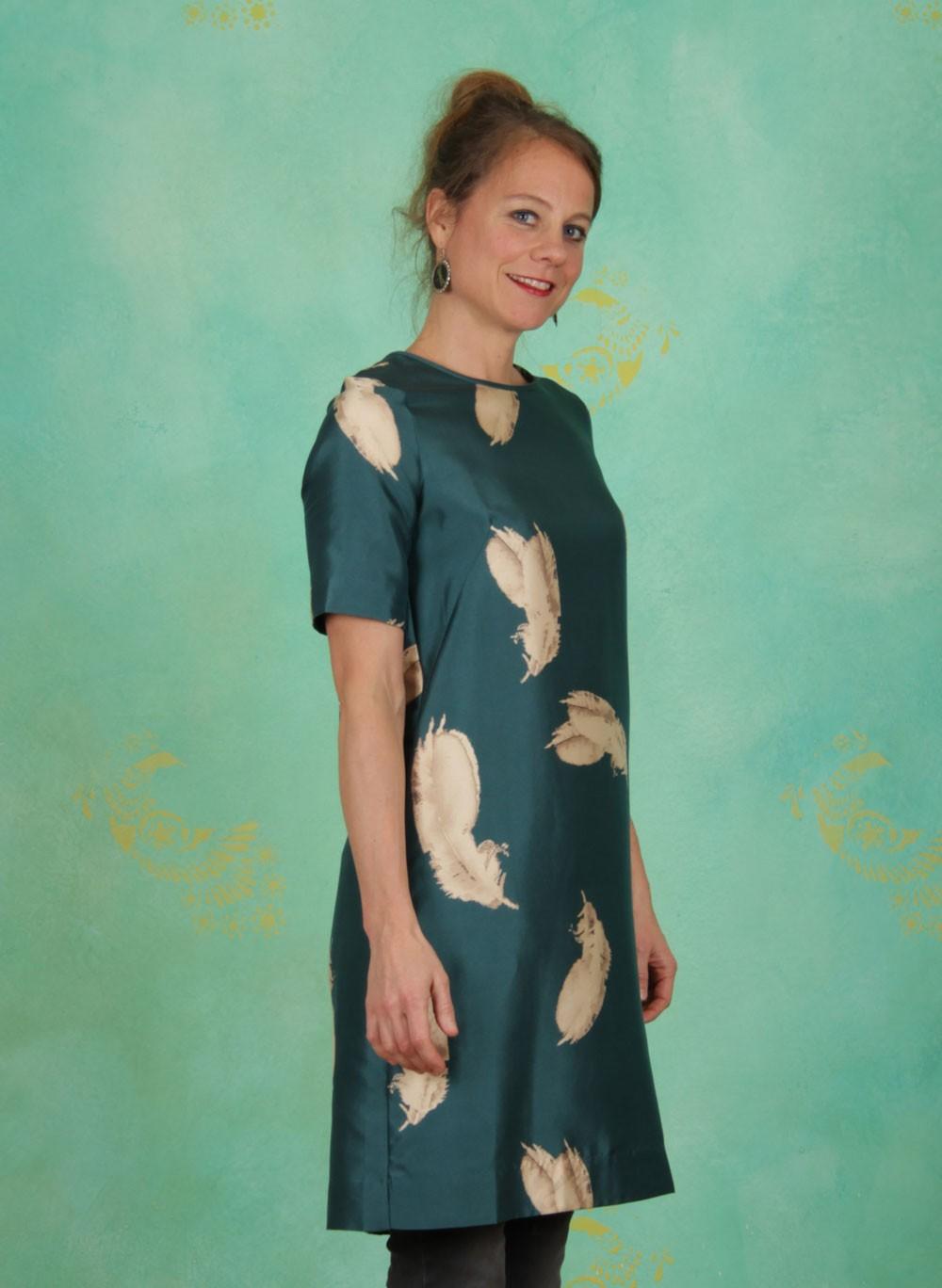 Noa Noa Winter Kleid Printed Silk Blend Print Green Ey Linda Online Shop