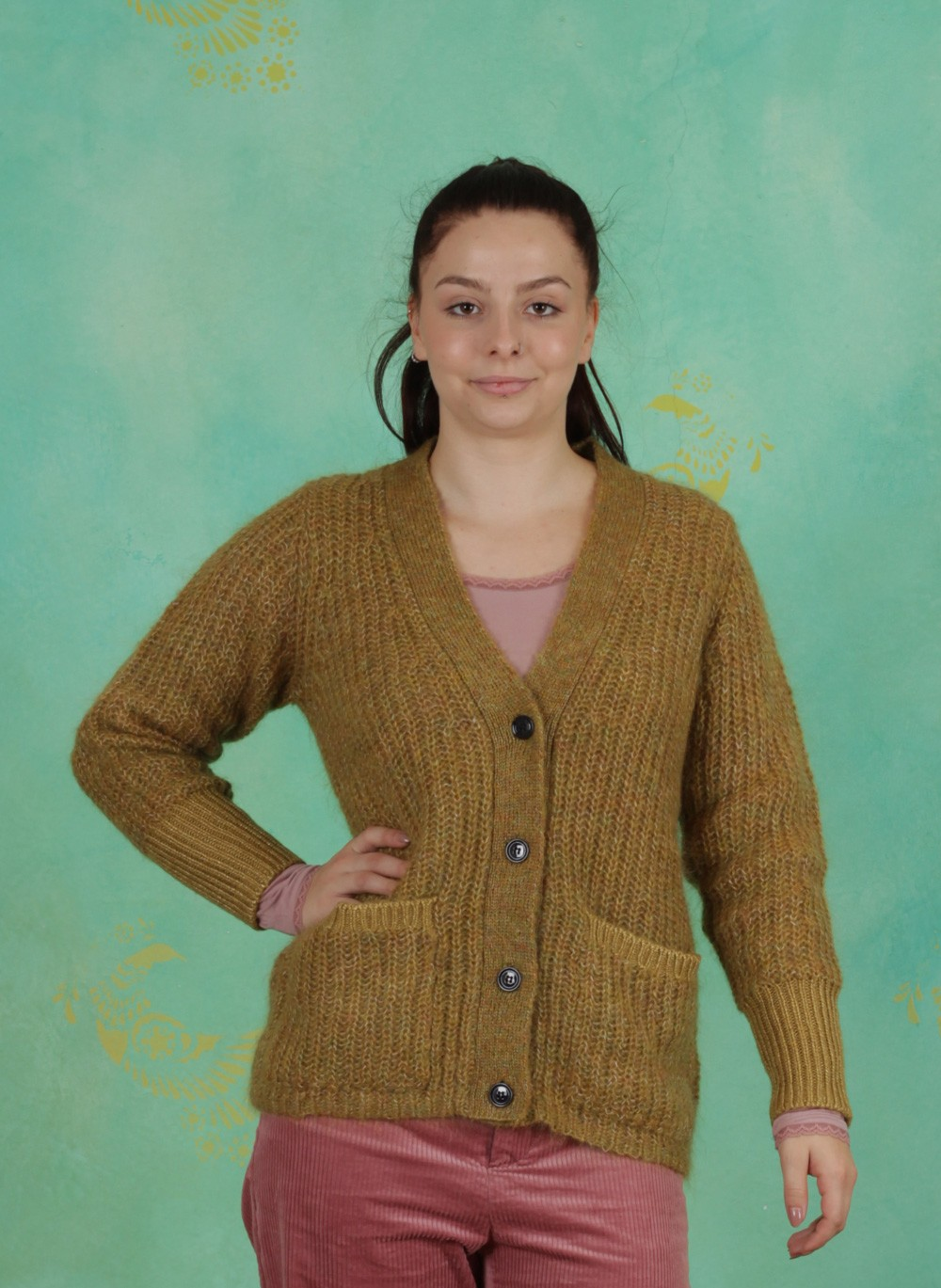 Linda Gold Winter Ey Mustard Cardigan Mohair Noa dxYIqfww