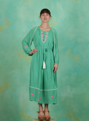 Kleid, Bohemian Beauty Robe, smaragd-crepe