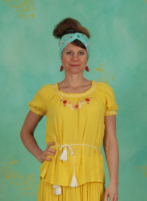 Bluse, Bees And Birds Blouse, sunflower-crepe