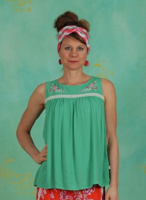 Top, Sunshine Picknick Top, smaragd-crepe
