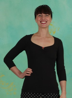 Shirt, Logo 3/4Sleeve Decollete Shirt, simply-black